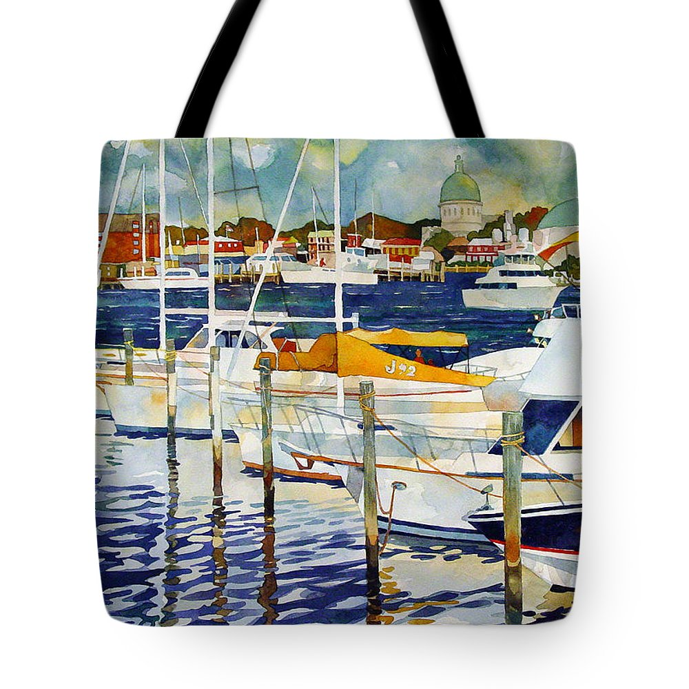 Watercolor Tote Bag featuring the painting Under The Copper Dome by Mick Williams