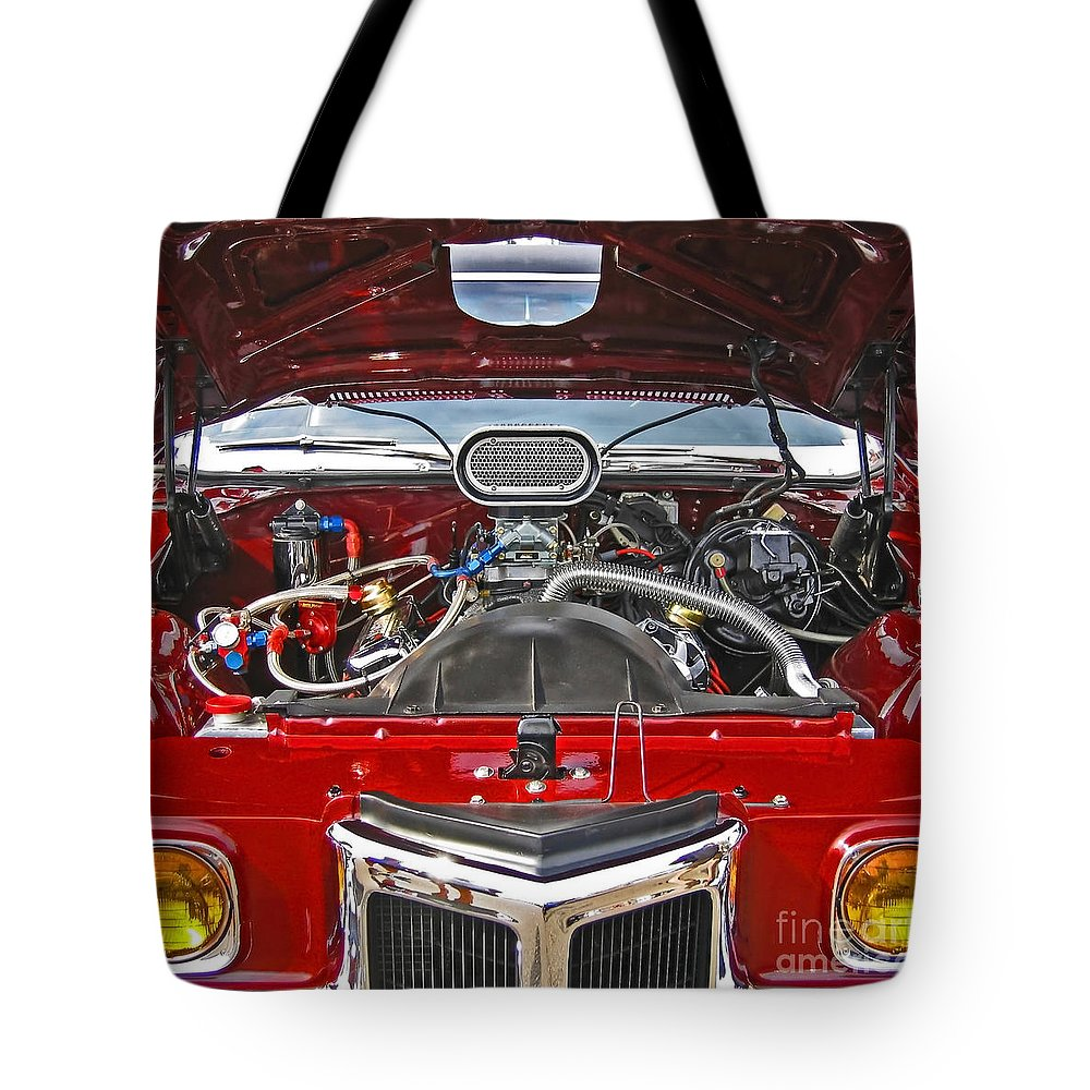 Car Tote Bag featuring the photograph Under The Hood by Ann Horn