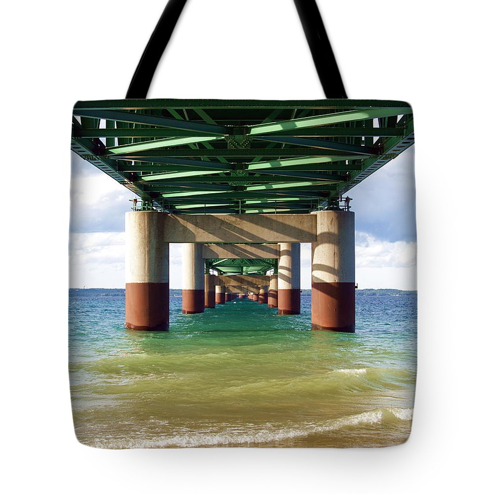 Water Tote Bag featuring the photograph Under The Mighty Mac by Melissa McDole