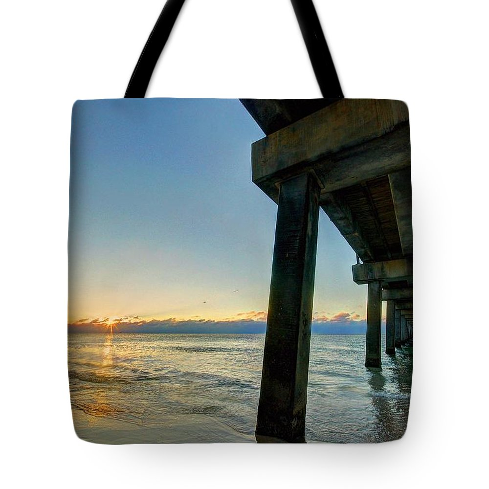 Alabama Tote Bag featuring the digital art Under The Pier by Michael Thomas