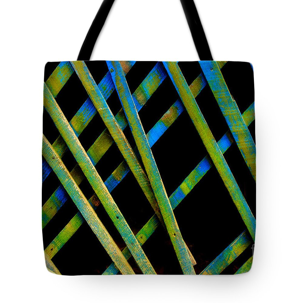 Lattice Work Tote Bag featuring the photograph Under The Porch by Michael Eingle