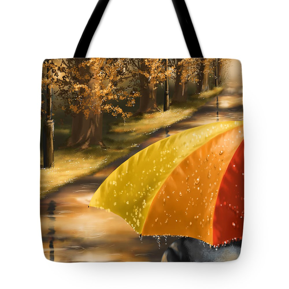 Rain Tote Bag featuring the painting Under The Rain by Veronica Minozzi
