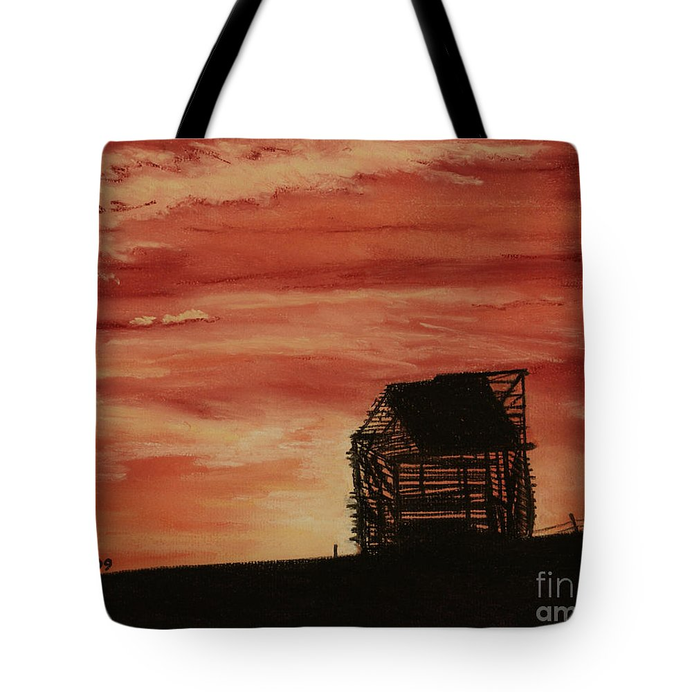Landscape Tote Bag featuring the painting Under The Sunset by Stanza Widen