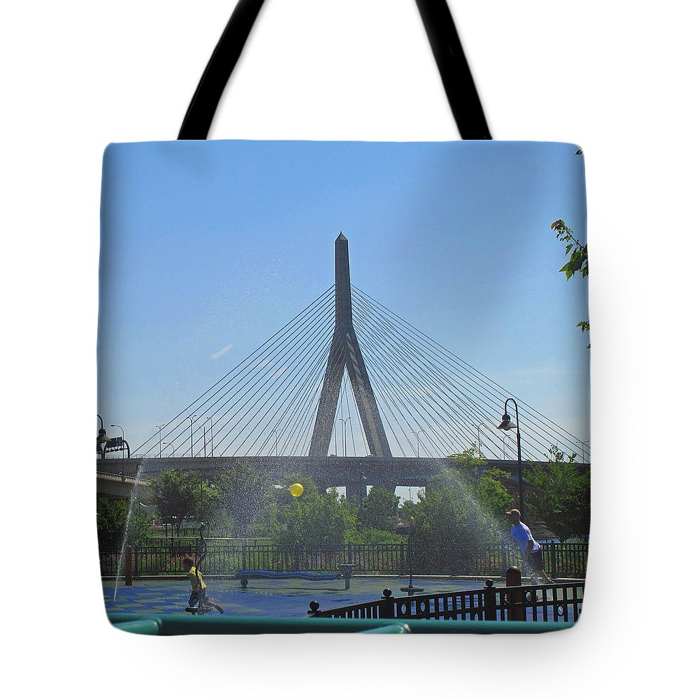 Bridge Tote Bag featuring the photograph Under The Zakim by Barbara McDevitt