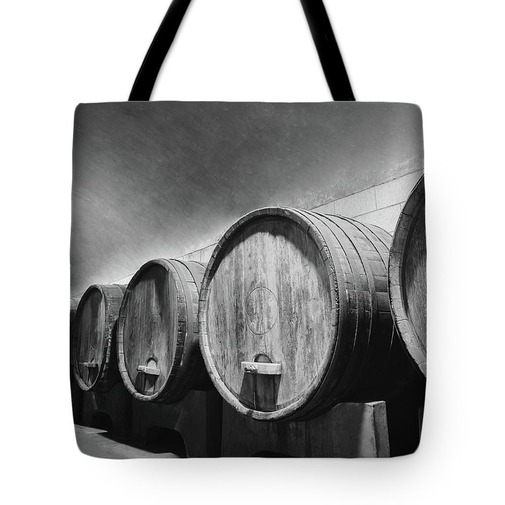 Alcohol Tote Bag featuring the photograph Underground Wine Cellar With Wooden by Feellife