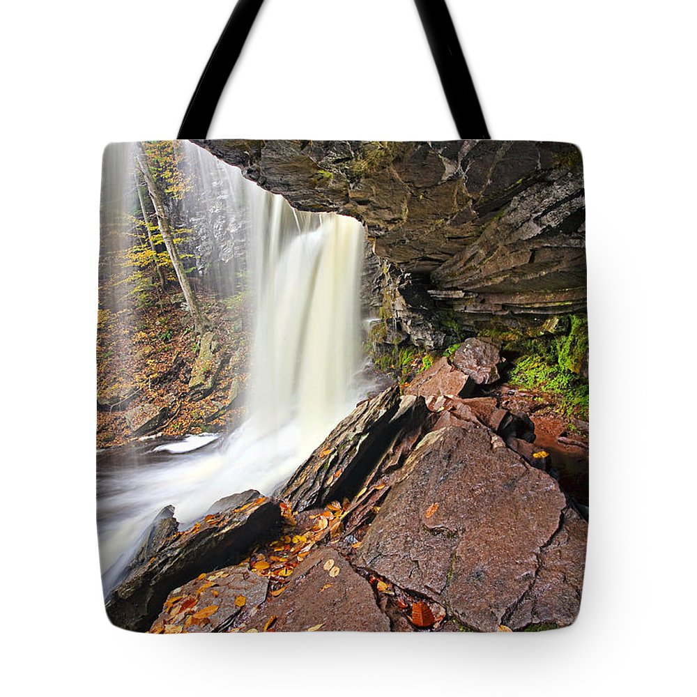 Landscape Tote Bag featuring the photograph Underneath The B Reynolds Waterfall by Marcia Colelli