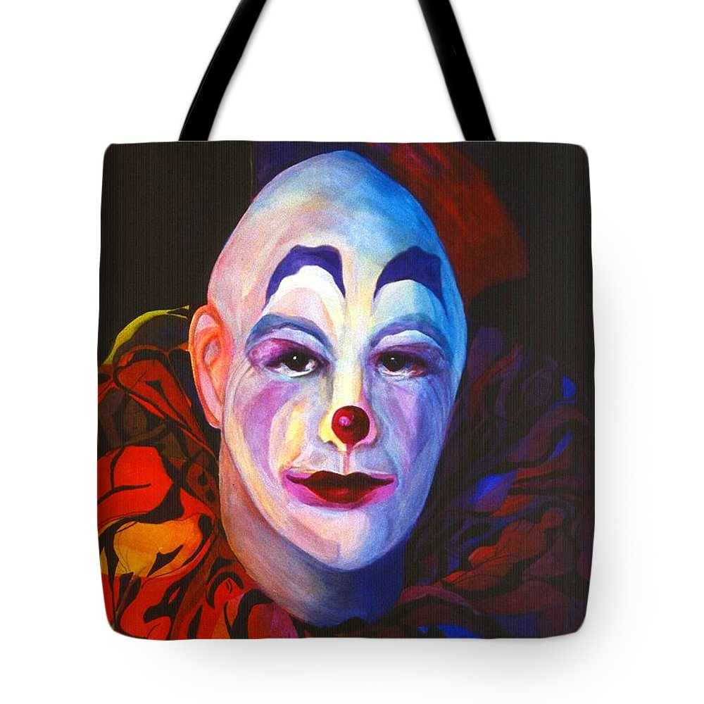 Clowns Tote Bag featuring the painting Underneath The Laughter by Carolyn LeGrand