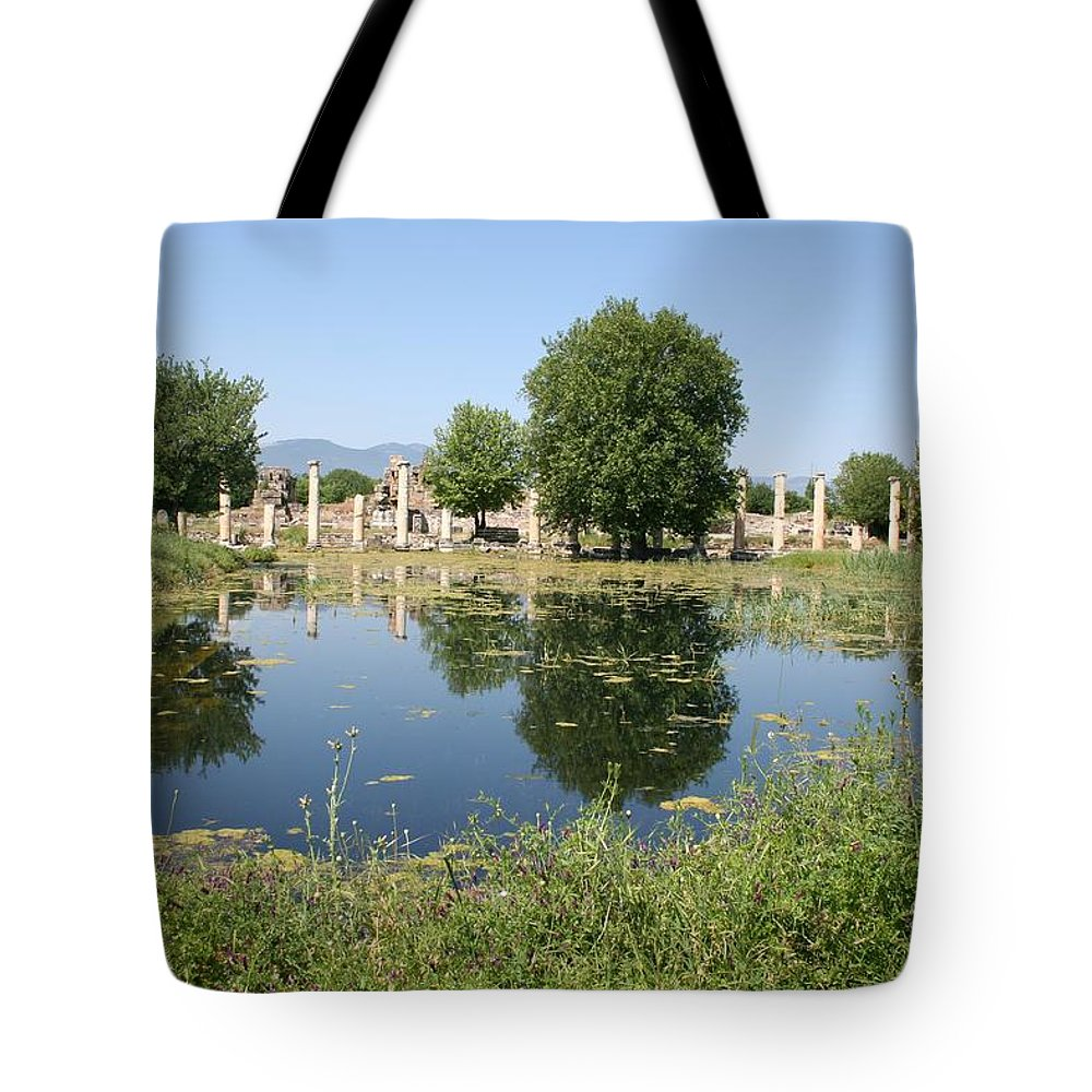 Aphrodisias Tote Bag featuring the photograph Underwater Remains Of The Portico Aphrodisias by Taiche Acrylic Art