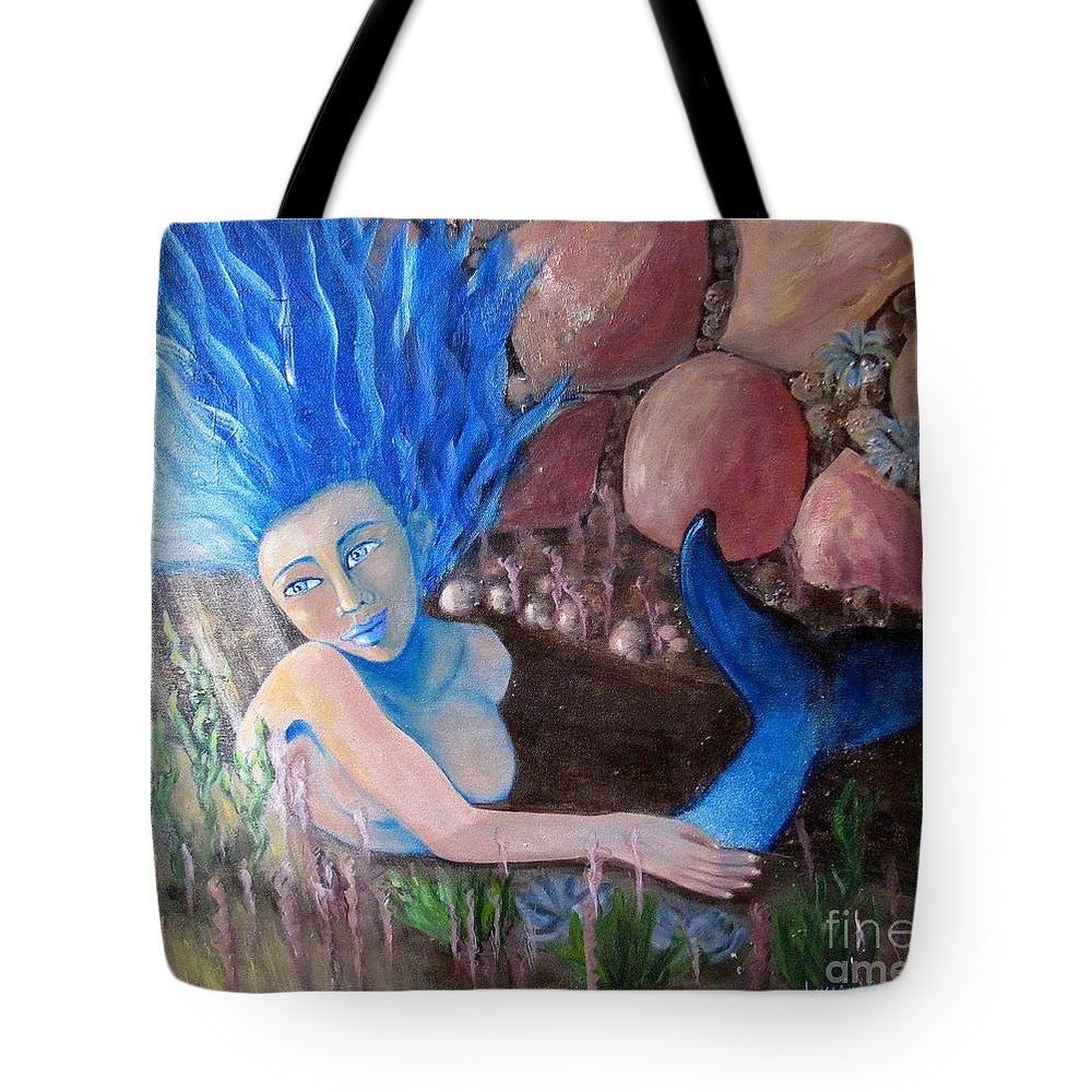 Mermaid Tote Bag featuring the painting Underwater Wonder by Laurie Morgan