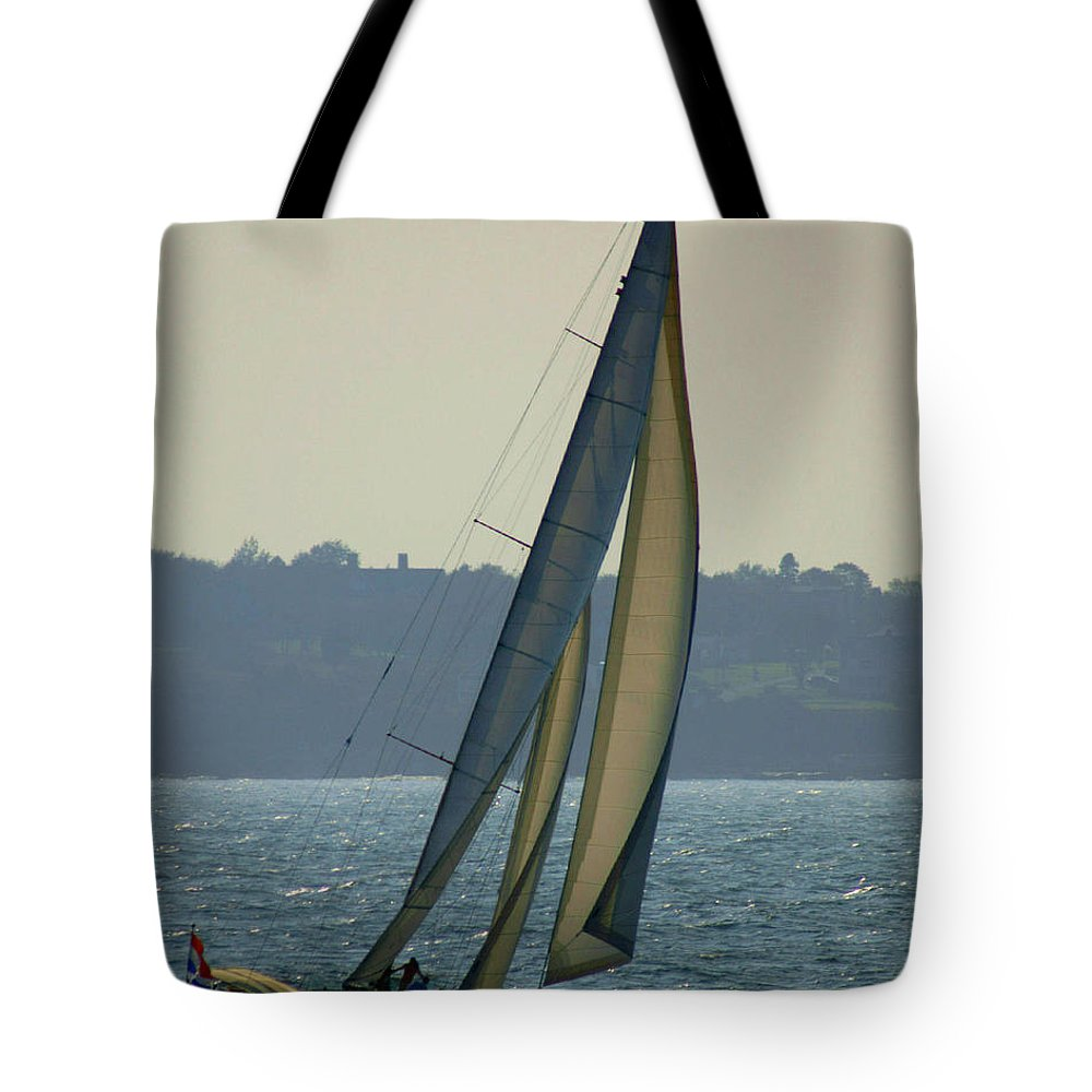Sail Tote Bag featuring the photograph Underway In Newport by Joe Geraci