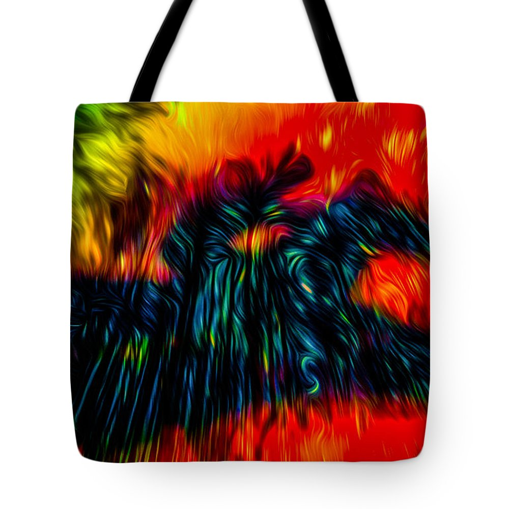 Unexpected Tote Bag featuring the digital art Unexpected Riders Vision by Algirdas Lukas