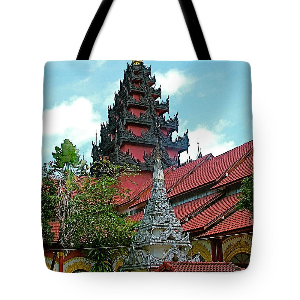 Unfinished Temple In Tachilek Tote Bag featuring the photograph Unfinished Temple In Tachilek-burma by Ruth Hager