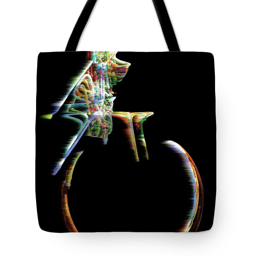 Unicycle Tote Bag featuring the digital art Unicyclone by RC DeWinter