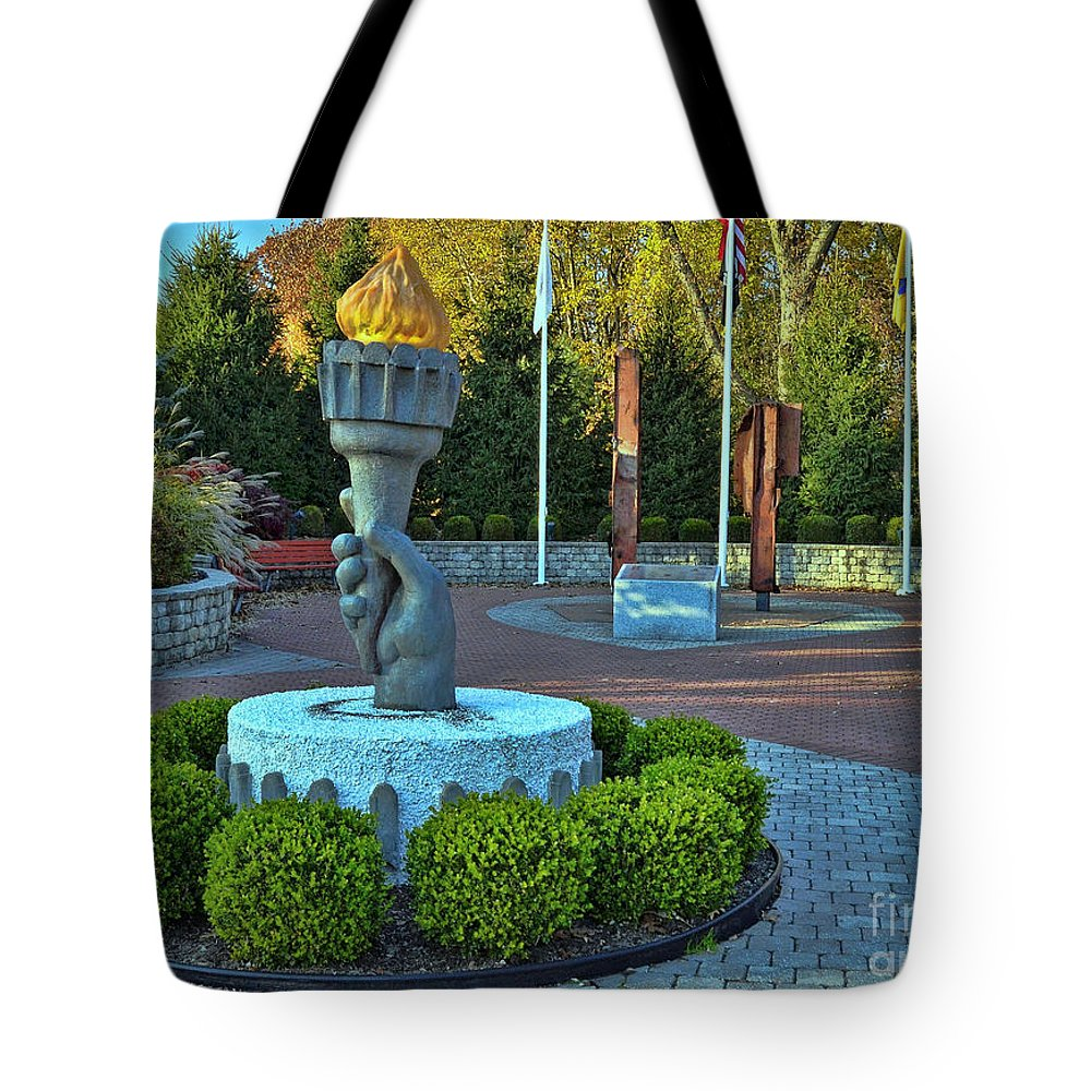 Union County Nj 9/11 Memorial Tote Bag featuring the photograph Union County N J 9-11 Memorial by Allen Beatty