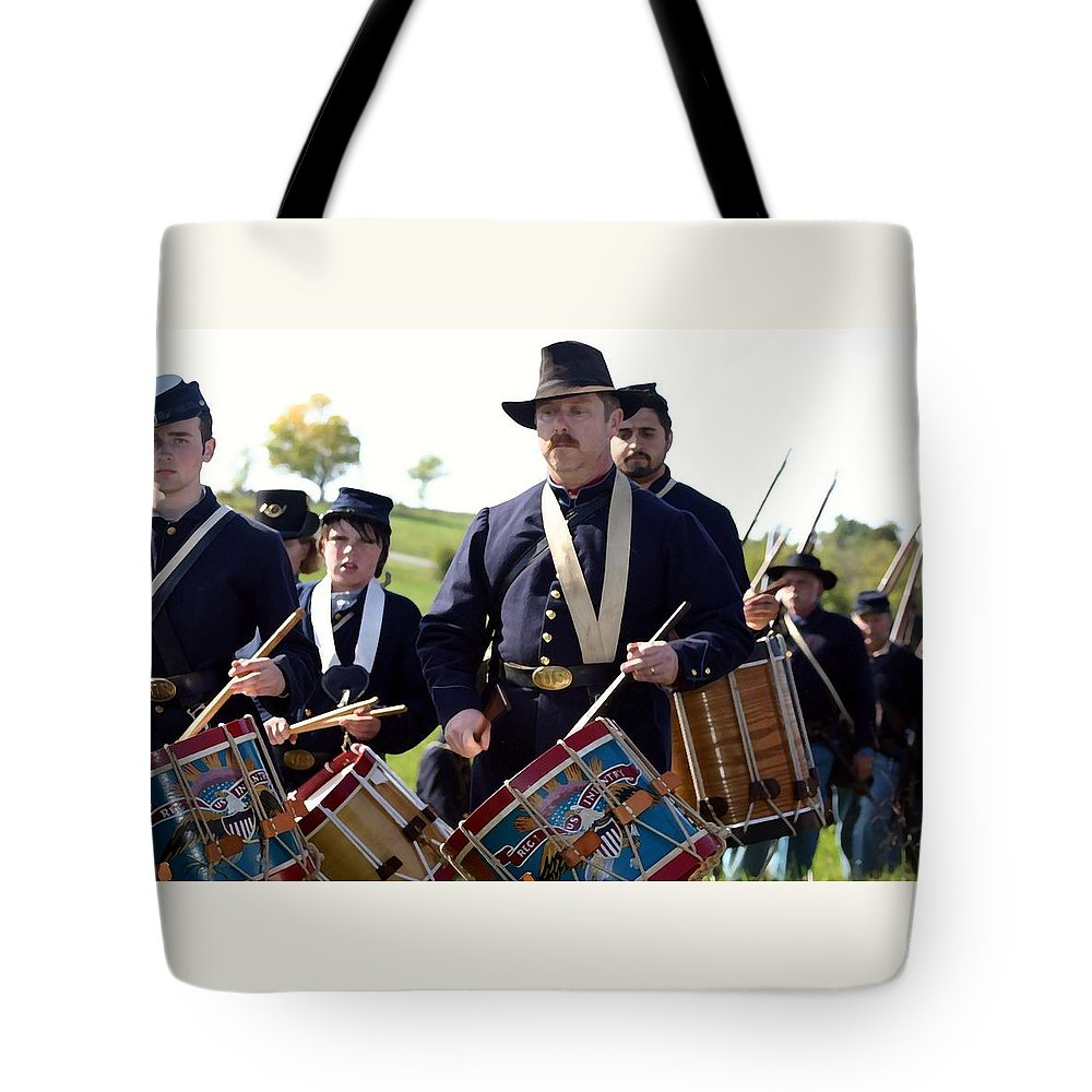 American Tote Bag featuring the photograph Union Drum Corps Perryville Ky by Thia Stover