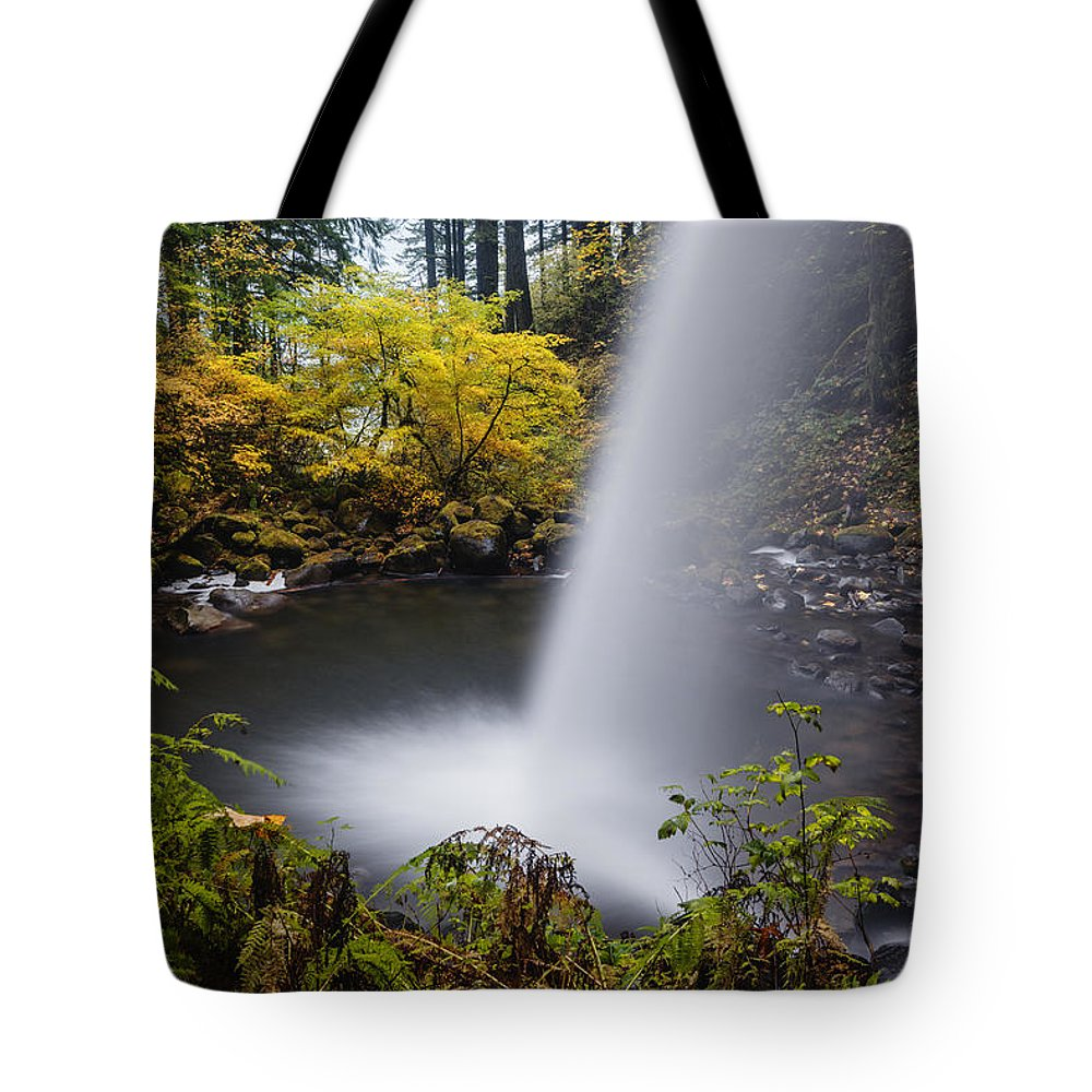 Ponytail Falls Tote Bag featuring the photograph Unique View Of Ponytail Falls by Vishwanath Bhat