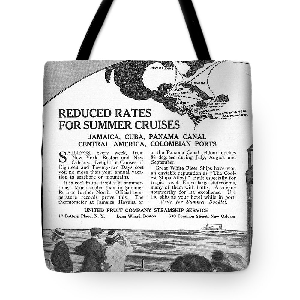 1922 Tote Bag featuring the drawing United Fruit Company, 1922 by Granger