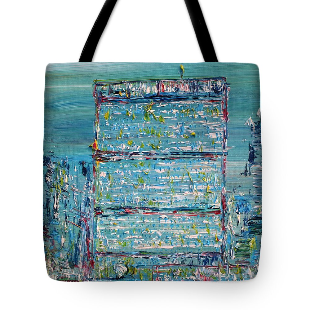 United Nations Tote Bag featuring the painting United Nations Headquarters by Fabrizio Cassetta