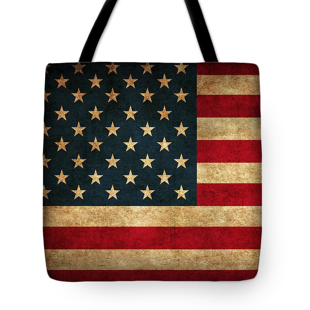 United States American Usa Flag Vintage Distressed Finish On Worn Canvas Tote Bag featuring the mixed media United States American USA Flag Vintage Distressed Finish on Worn Canvas by Design Turnpike