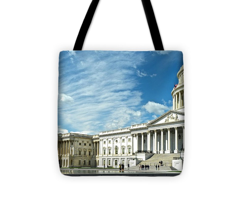 United Tote Bag featuring the photograph United States Capitol by Frozen in Time Fine Art Photography