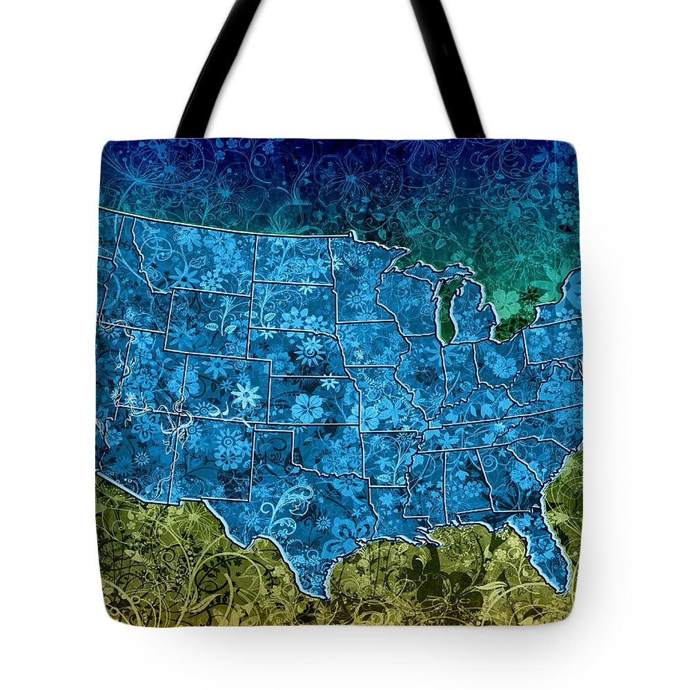 Map Tote Bag featuring the painting United States Floral Map 3 by Bekim M