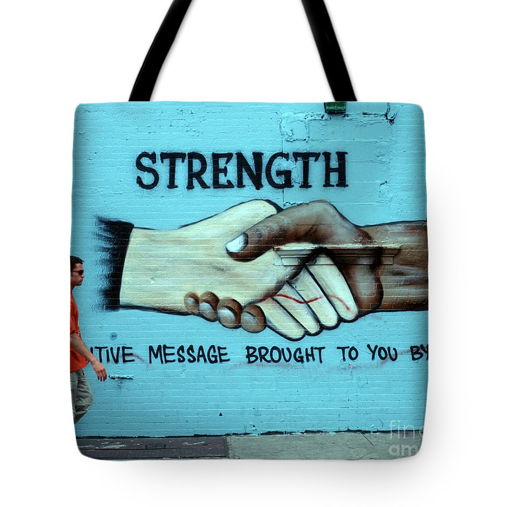 Sign Tote Bag featuring the photograph Unity by Bruce Bain