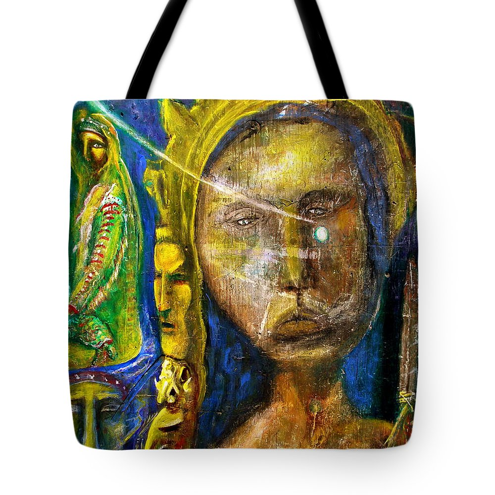 Nature Tote Bag featuring the painting Universal Totem by Kicking Bear Productions