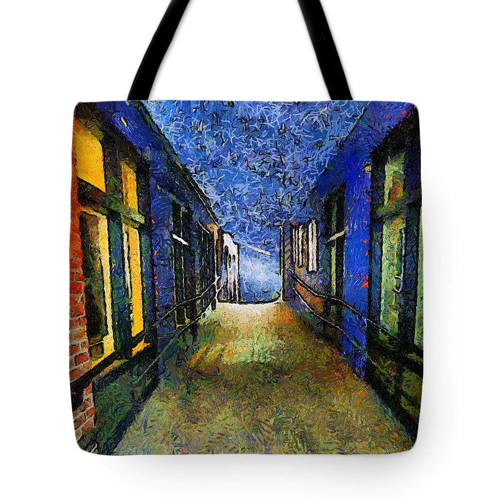 Alley Tote Bag featuring the painting Universe Alley by RC DeWinter