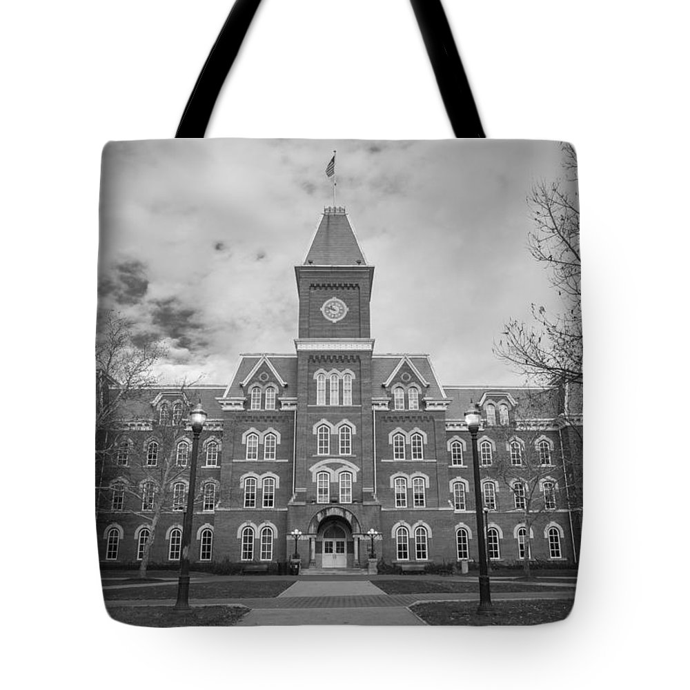 Ohio State University Tote Bag featuring the photograph University Hall Black And White by John McGraw
