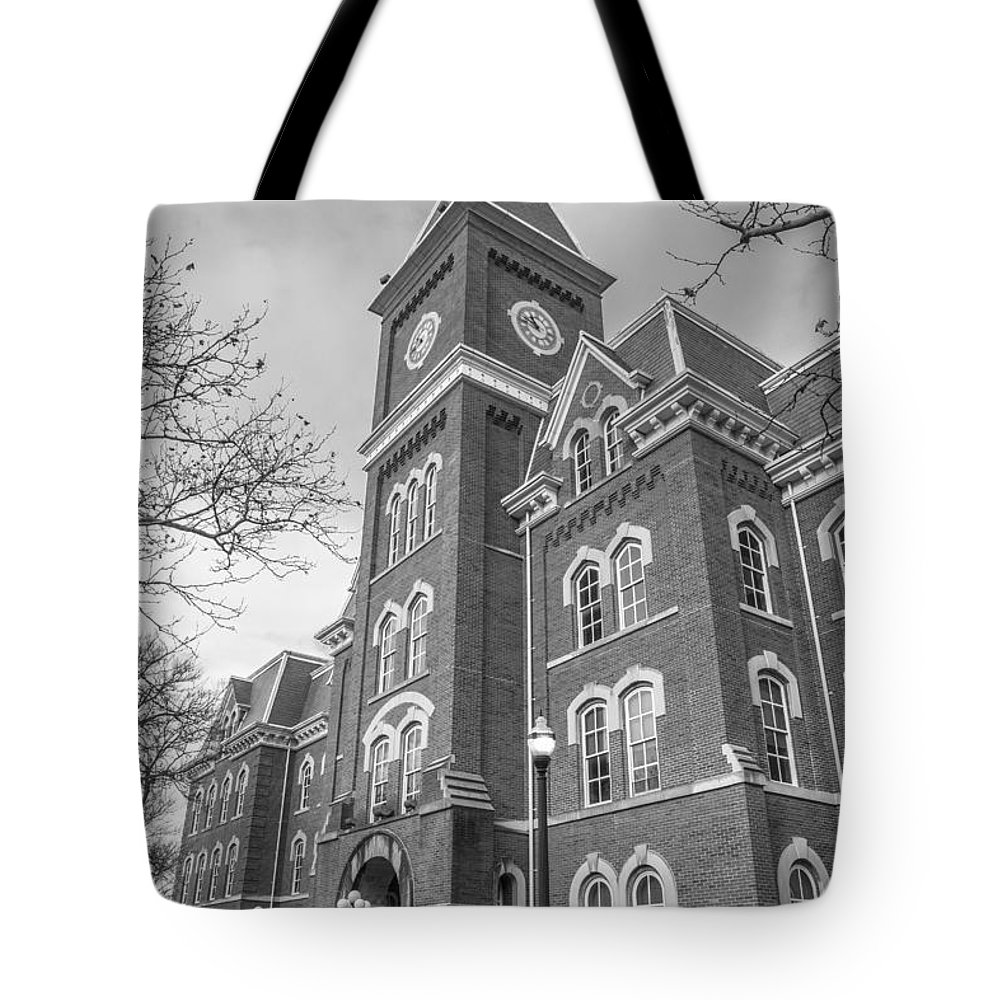 Ohio State University Tote Bag featuring the photograph University Hall From Side Black And White by John McGraw