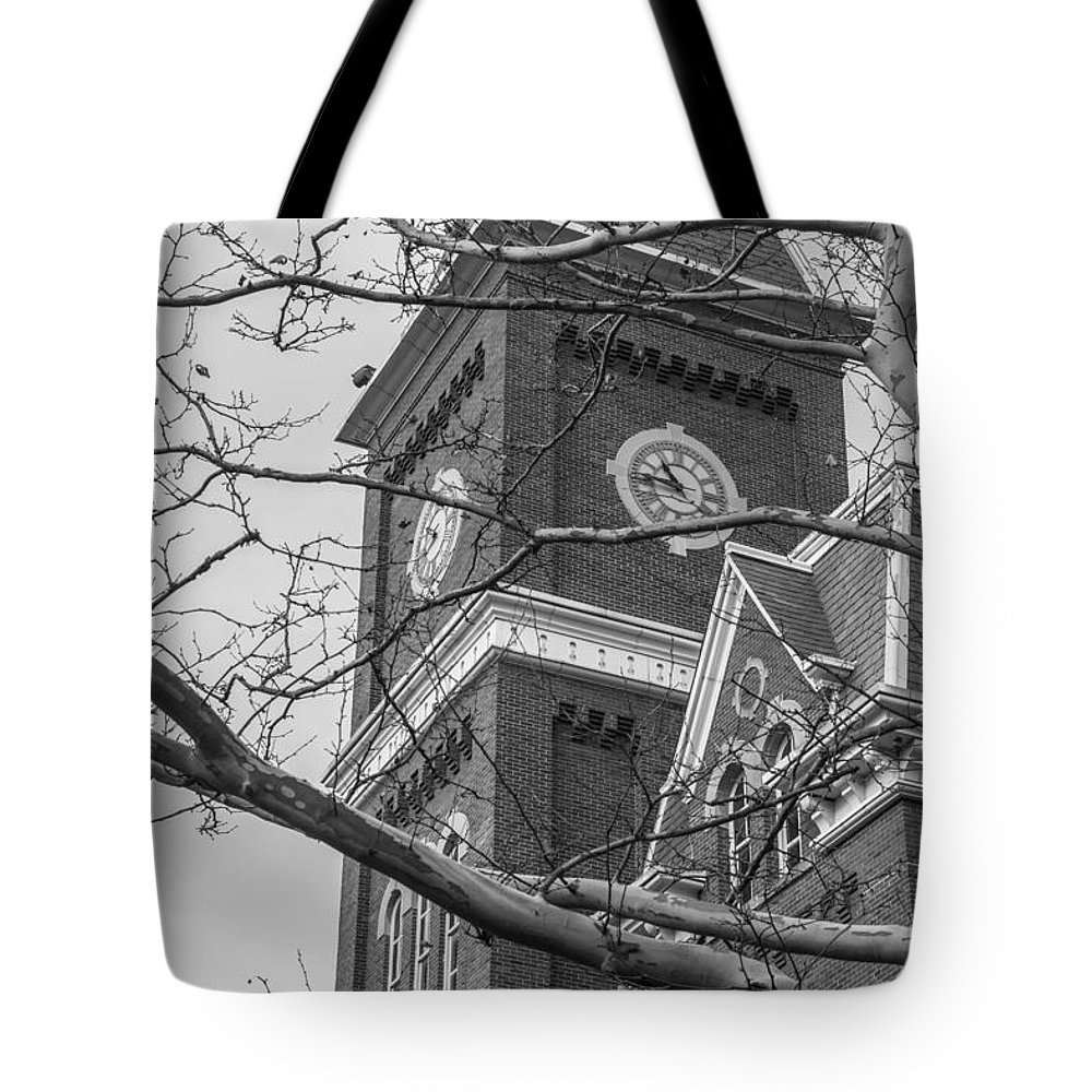 Ohio State University Tote Bag featuring the photograph University Hall Tower Black And White by John McGraw