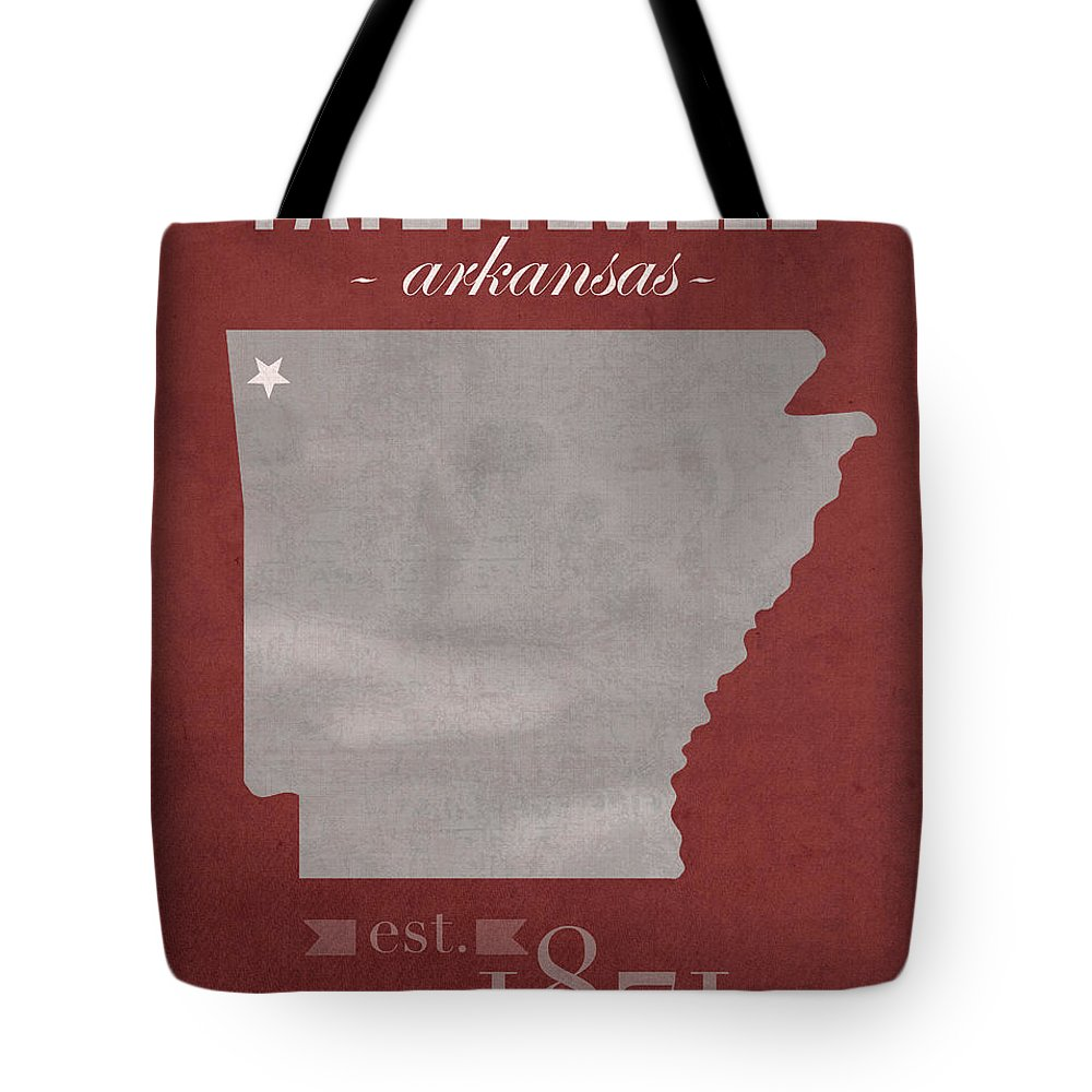 University Of Arkansas Tote Bag featuring the mixed media University Of Arkansas Razorbacks Fayetteville College Town State Map Poster Series No 013 by Design Turnpike