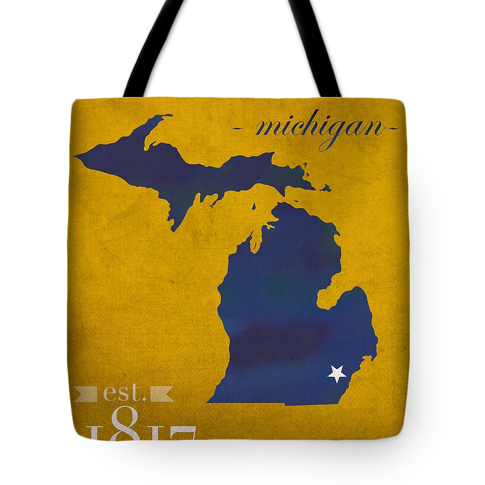 University Of Michigan Tote Bag featuring the mixed media University Of Michigan Wolverines Ann Arbor College Town State Map Poster Series No 001 by Design Turnpike