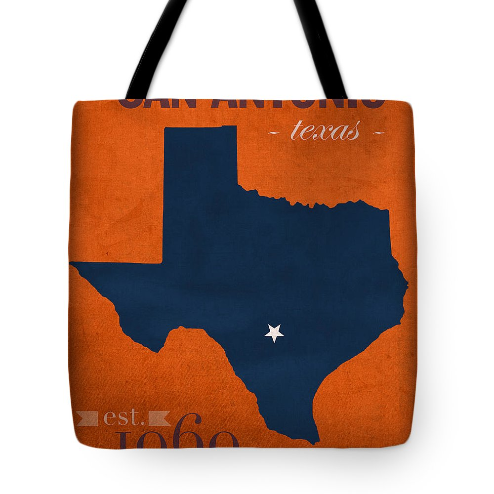 University Of Texas At San Antonio Tote Bag featuring the mixed media University Of Texas At San Antonio Roadrunners College Town State Map Poster Series No 111 by Design Turnpike