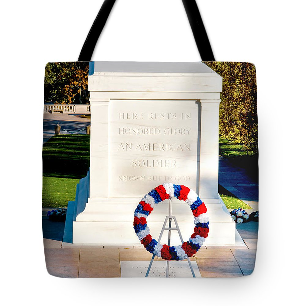 Arlington Cemetery Tote Bag featuring the photograph Unknown Tribute by Greg Fortier