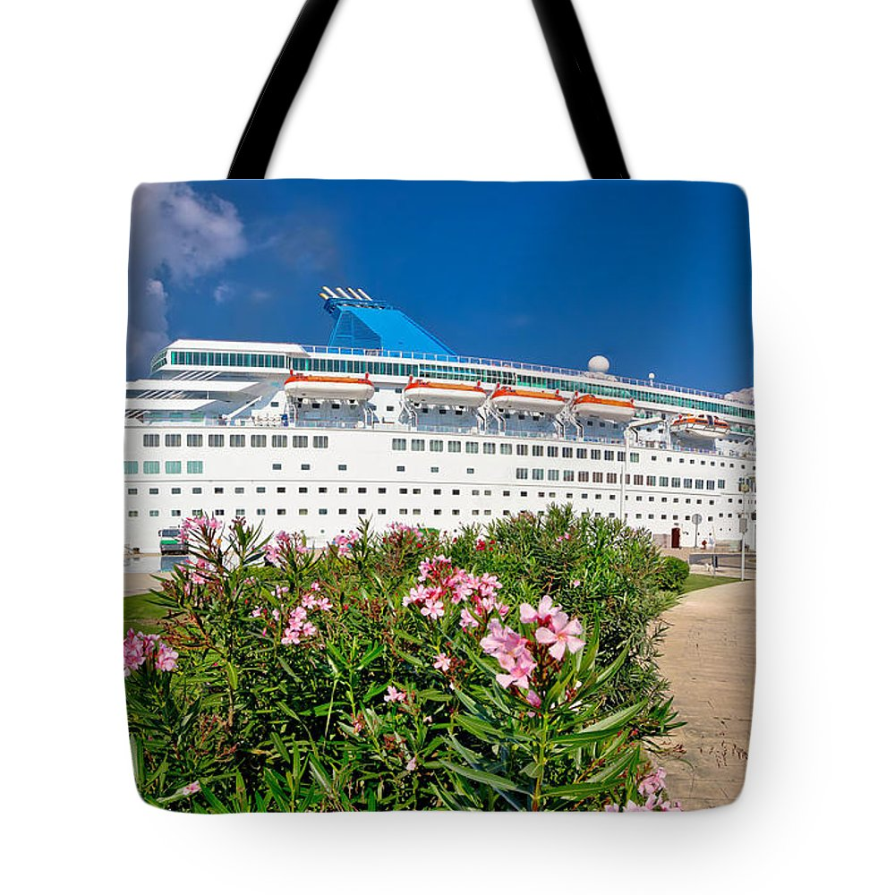 Cruiser Tote Bag featuring the photograph Unnamed Cruiser Docked On Waterfront by Brch Photography