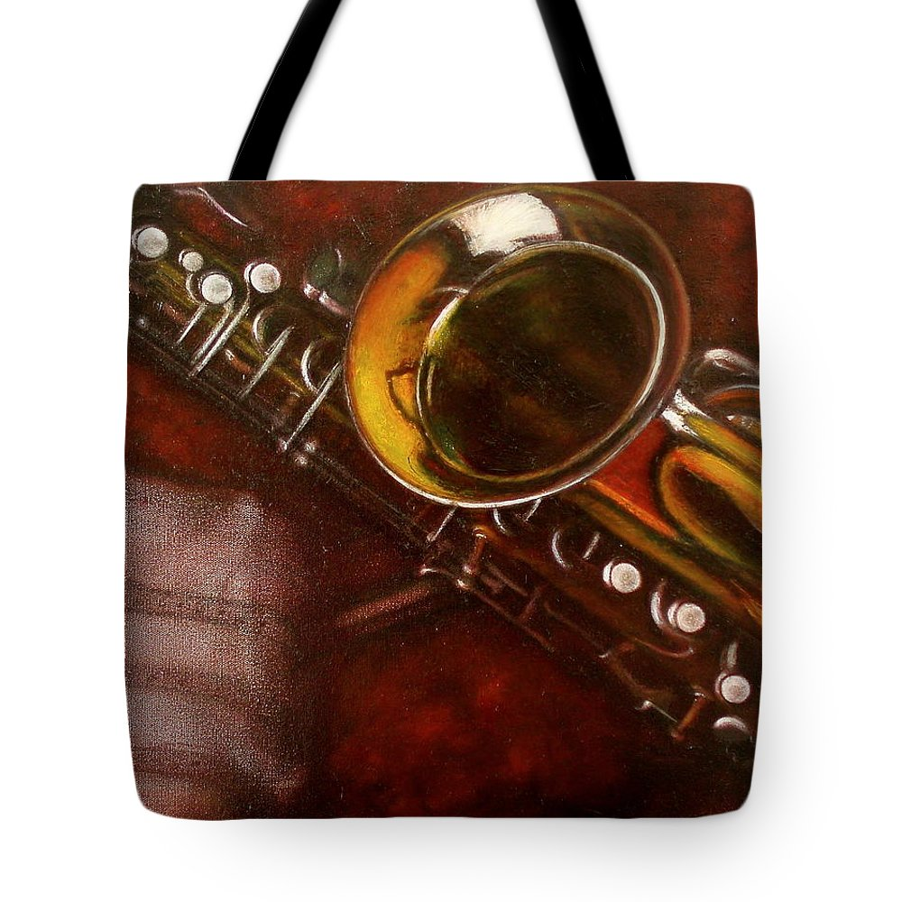 Still Life Tote Bag featuring the painting Unprotected Sax by Sean Connolly