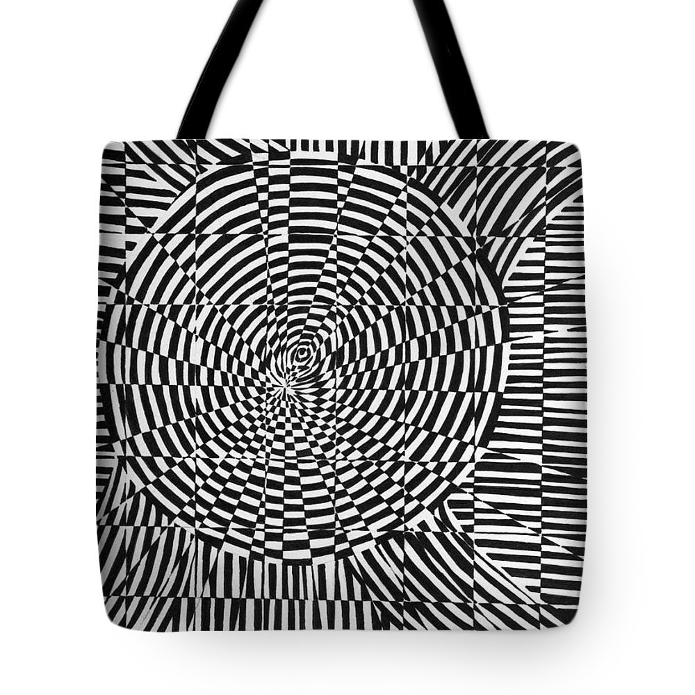 Abstract Tote Bag featuring the drawing Unraveled by Crystal Hubbard