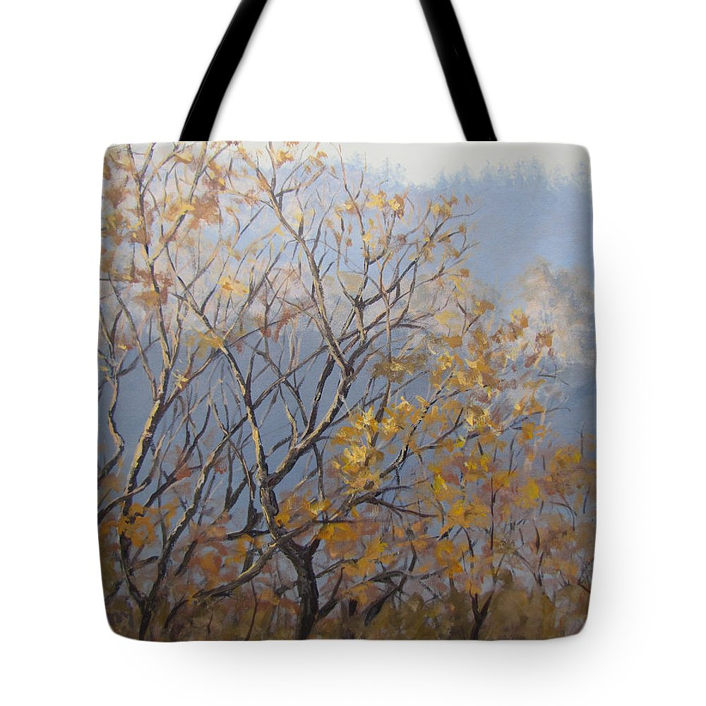 Fall Tote Bag featuring the painting Until Next Year by Karen Ilari