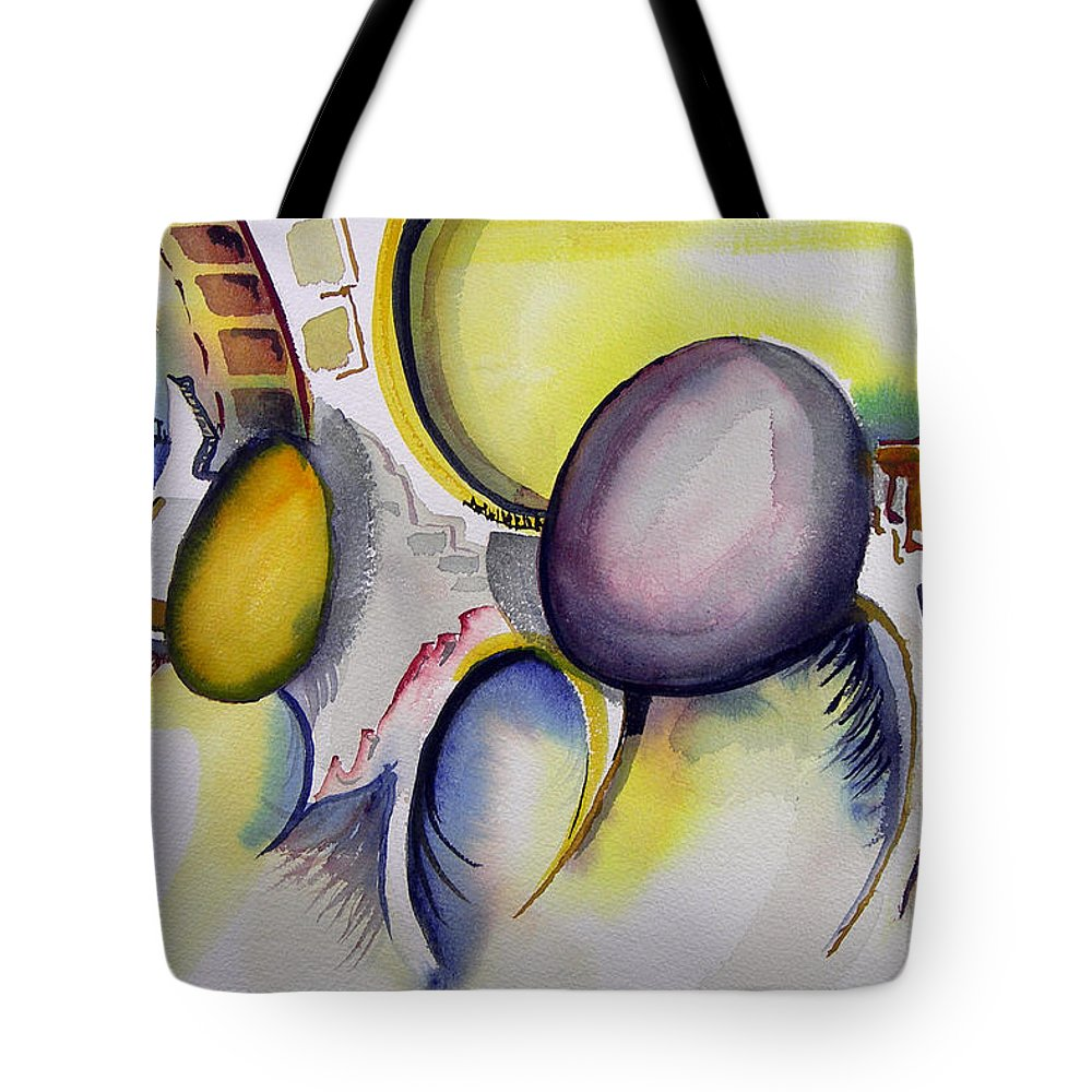 Abstract Tote Bag featuring the painting Untitled-960115 by Sam Sidders