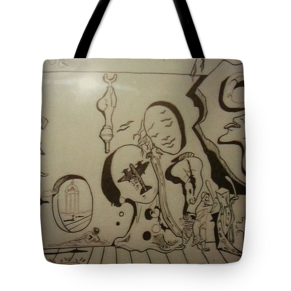 Tote Bag featuring the drawing Untitled by Jude Darrien