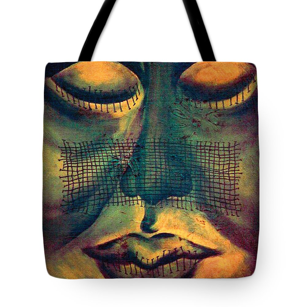 Surrealism Tote Bag featuring the painting Untitled No. 5 by Fei A