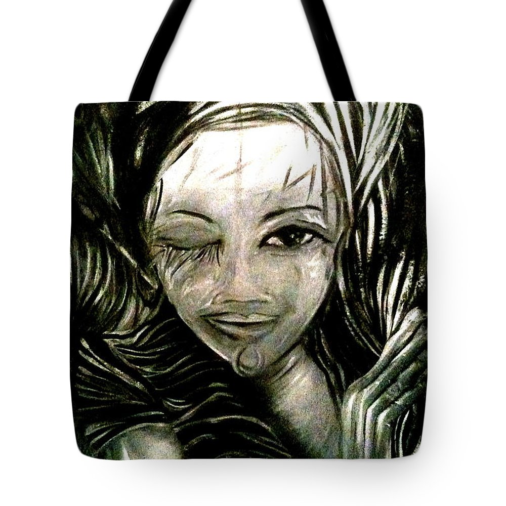 Predictions Tote Bag featuring the painting Untitled -the Seer by Juliann Sweet