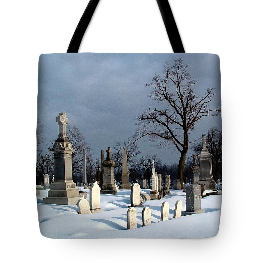 Winter Graveyard Tote Bag featuring the photograph Untouched by Gothicrow Images