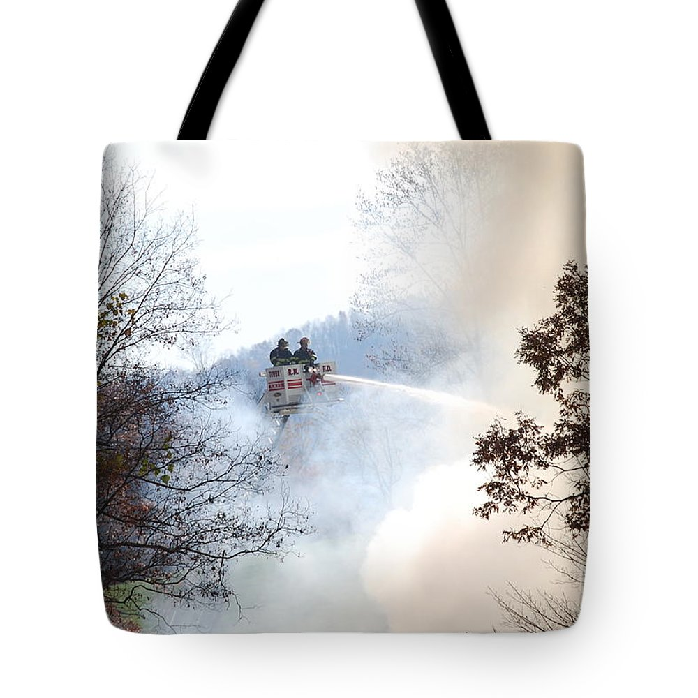 Fire Tote Bag featuring the photograph Up In Smoke by Eric Liller