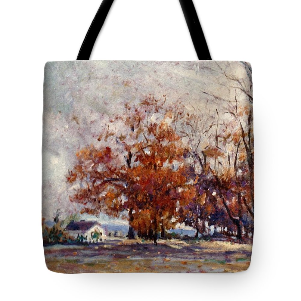 Automn Tote Bag featuring the painting Up State Ny - Nyack by Walter Casaravilla