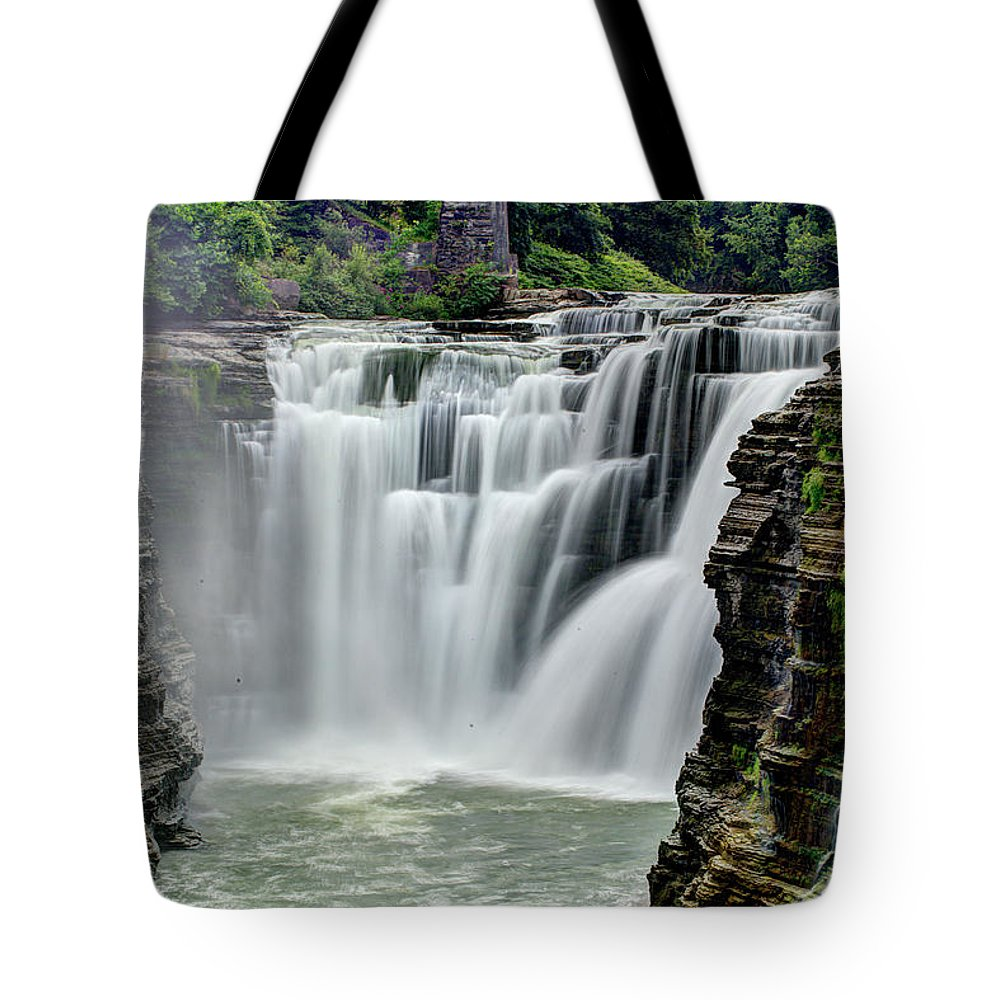 Letchworth State Park Tote Bag featuring the photograph Upper Letchworth Falls by Tony Shi Photography