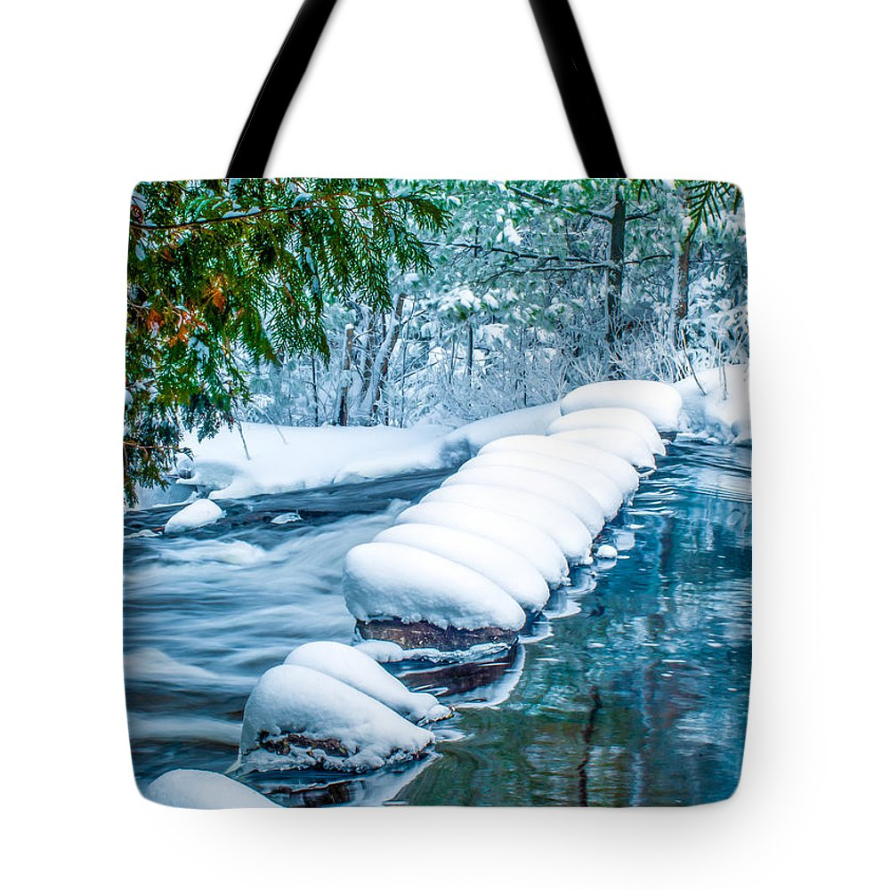 Optical Playground By Mp Ray Tote Bag featuring the photograph Upper Part Of Bond Falls In Winter by Optical Playground By MP Ray