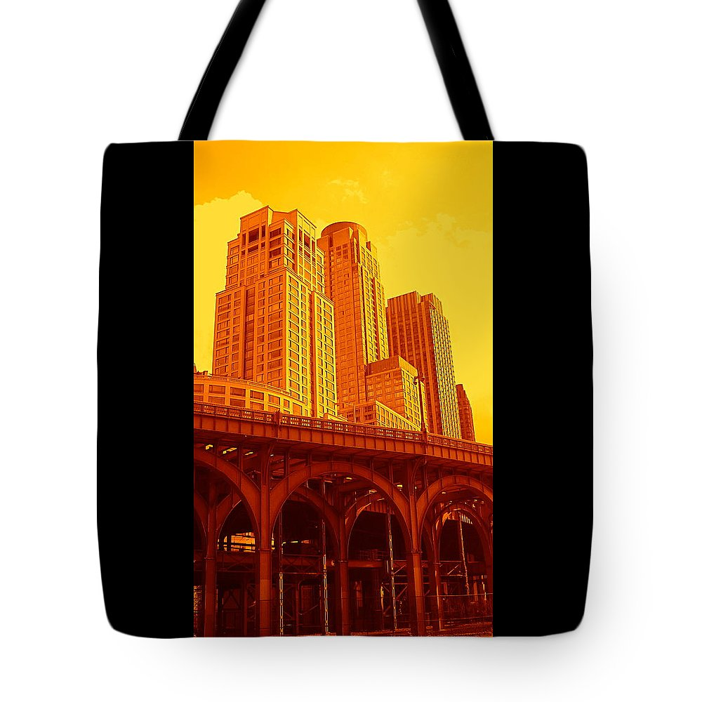 Manhattan Prints And Posters Tote Bag featuring the photograph Upper West Side And Hudson River Manhattan by Monique's Fine Art