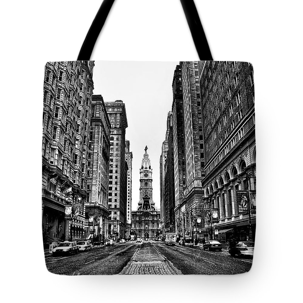 City Tote Bag featuring the photograph Urban Canyon - Philadelphia City Hall by Bill Cannon